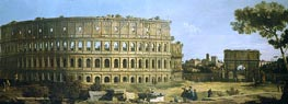 Rome: View of the Colosseum and the Arch of Constantine, 1743 von Canaletto | Gemälde-Reproduktion