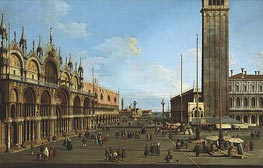 Venice: The Piazza and Piazzetta from the Torre dell'Orologio towards St. Giorgio, 1744 von Canaletto | Gemälde-Reproduktion
