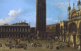Venice: The Piazza from the Piazzetta with the Campanile and Side of St. Marco, 1744 by Canaletto | Painting Reproduction