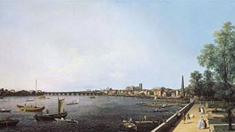 London: The Thames from Somerset House Terrace towards Westminster, c.1750 by Canaletto | Painting Reproduction