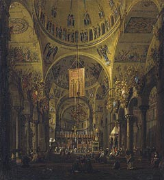 Venice: The Interior of St. Marco by Day, c.1755/56 by Canaletto | Painting Reproduction