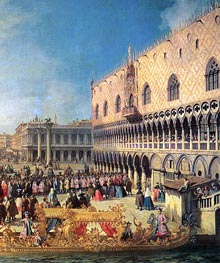 Reception of the Imperial Ambassador at the Doge's Palace (Detail) | Canaletto | Painting Reproduction