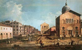 Campo San Giuseppe di Castello and the Chiesa San Niccolo di Castello, c.1735/40 by Canaletto | Painting Reproduction