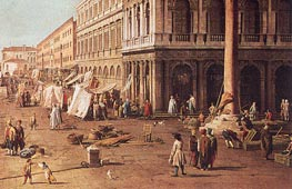 Molo with the Library, Looking Towards the Zecca (Detail), b.1740 by Canaletto | Painting Reproduction