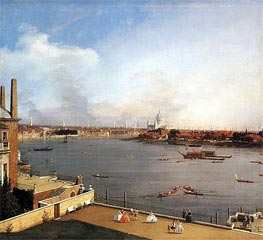 London: The Thames and the City of London from Richmond House, 1746 by Canaletto | Painting Reproduction
