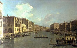 Grand Canal from the Campo Santa Sofia towards the Rialto Bridge, c.1758 by Canaletto | Painting Reproduction