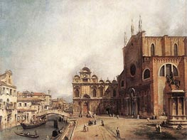 Santi Giovanni e Paolo and the Scuola di San Marco, c.1725 by Canaletto | Painting Reproduction