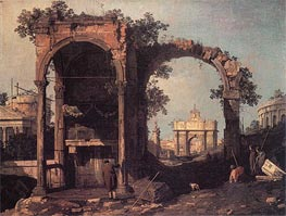 Capriccio: Ruins and Classic Buildings, c.1730 by Canaletto | Painting Reproduction