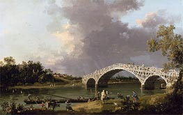 Old Walton Bridge over the Thames, 1754 by Canaletto | Painting Reproduction