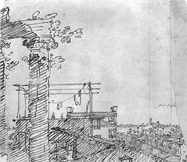 A View of Roofs: Landscape Sketch, c.1740 by Canaletto | Painting Reproduction