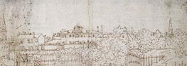 A Panorama of a Village: Sketch of a Building, c.1742 by Canaletto | Painting Reproduction