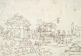 A Water Wheel: Studies of Roofs, undated by Canaletto | Painting Reproduction