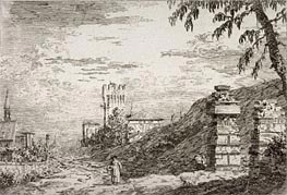 Landscape with Tower and Two Ruined Pillars, undated by Canaletto | Painting Reproduction