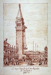 Piazzetta with Campanile under Construction, undated by Canaletto | Painting Reproduction