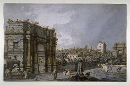 View of the Arch of Constantine and Environs, Rome, c.1758/65 by Canaletto | Painting Reproduction