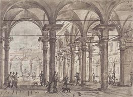 Architectural Design (Piazza with Open Colonnade), undated von Canaletto | Gemälde-Reproduktion