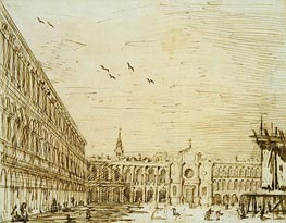 The Piazza Looking West, c.1725 by Canaletto | Painting Reproduction