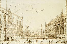 The Piazzetta Looking South, 1729 von Canaletto | Gemälde-Reproduktion