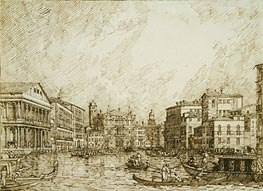 The Lower bend of the Grand Canal, Looking North, c.1734 by Canaletto | Painting Reproduction