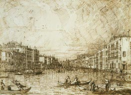 The Central Stretch of the Grand Canal, c.1734 by Canaletto | Painting Reproduction