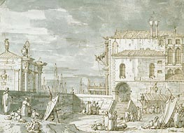 Capriccio of the Fontegheto della Farina, c.1735/40 by Canaletto | Painting Reproduction