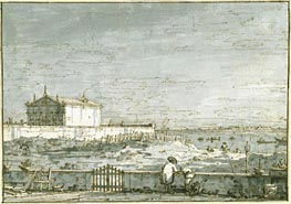 A Pavilion in a Walled Garden, the Lagoon Beyond, c.1740/45 by Canaletto | Painting Reproduction