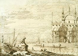 A Capriccio with San Marco in the Lagoon, c.1740/45 by Canaletto | Painting Reproduction