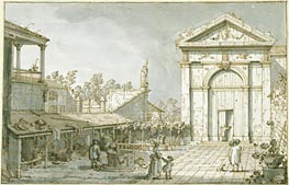 A Capriccio in the Courtyard of a Villa, c.1740/45 by Canaletto | Painting Reproduction