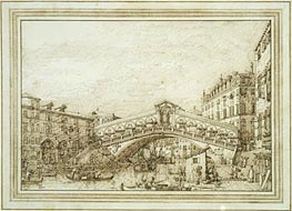 The Rialto Bridge from the South-West, c.1740/45 by Canaletto | Painting Reproduction