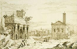 Rome: The Arch of Septimius Severus, c.1742 by Canaletto | Painting Reproduction