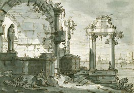 A Capriccio of Church Ruins on the Shores of the Lagoon, c.1740/45 by Canaletto | Painting Reproduction
