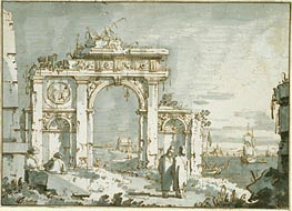 A Capriccio of a Ruined Arch on the Shores of a Lagoon, c.1740/45 by Canaletto | Painting Reproduction