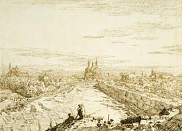 Padua: A Distant View of Santa Giustina and Sant'Antonio from the Ramparts, c.1742 by Canaletto | Painting Reproduction