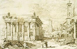 Rome: The Temple of Antoninus and Faustina, c.1742 by Canaletto | Painting Reproduction