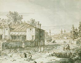 A Villa on the Outskirts of Padua, c.1742 by Canaletto | Painting Reproduction