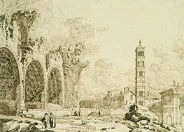 Rome: the Forum with the Basilica of Constantine and S. Francesca Romana, c.1742 by Canaletto | Painting Reproduction