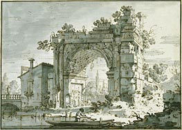 A Capriccio with a Roman Arch, c.1742/45 by Canaletto | Painting Reproduction