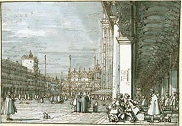 The Piazza Looking North-East from the Procuratie Nuove, c.1745 by Canaletto | Painting Reproduction