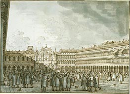 The Piazza Looking West from the Procuratie Nuove, c.1745 by Canaletto | Painting Reproduction