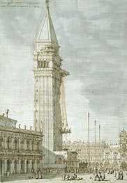 The Campanile under Repair, c.1745 by Canaletto | Painting Reproduction