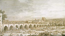 Westminster Bridge, London, with a Procession of Civic Barges | Canaletto | Painting Reproduction