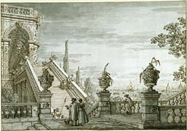A Capriccio with a Monumental Staircase, c.1755/60 by Canaletto | Painting Reproduction