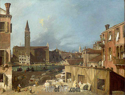The Stonemason's Yard, c.1725/26 | Canaletto | Gemälde Reproduktion