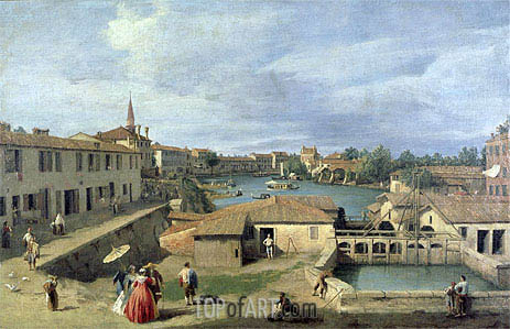 A View of Dolo on the Brenta Canal, c.1727/40 | Canaletto | Gemälde Reproduktion