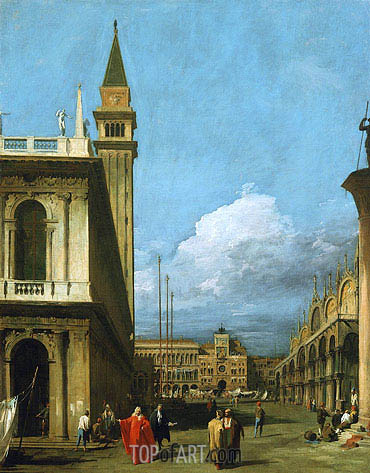 Piazzetta Towards the Torre dell'Orologio, 1730 | Canaletto | Gemälde Reproduktion
