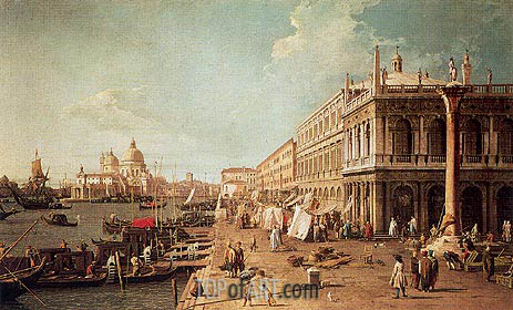Molo with the Library, Looking Towards the Zecca, b.1740 | Canaletto | Painting Reproduction