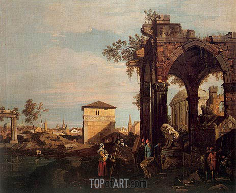 Landscape with Ruins, 1740 | Canaletto | Painting Reproduction