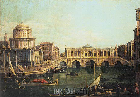 Capriccio of the Grand Canal with an Imaginary Rialto Bridge, 1744 | Canaletto | Painting Reproduction