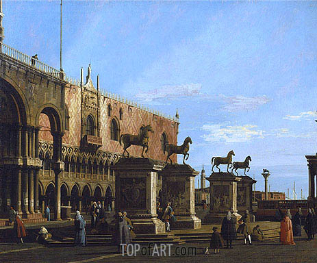 Venice: Caprice view of the Piazzetta with the Horses of St. Marco, c.1743 | Canaletto | Painting Reproduction