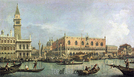 The Molo and the Piazzetta San Marco, Venice, undated   Canaletto   Painting Reproduction
